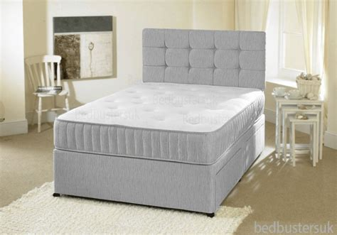 Grey Fabric Bed With Mattress by Grey Fabric Divan Bed Set Memory Mattress Headboard