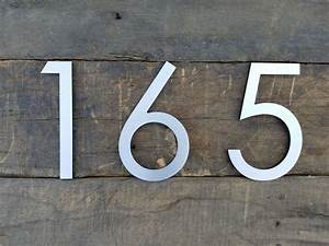 83939 modern house numbers brushed aluminum stud mounted for Metal address numbers and letters