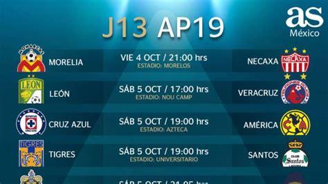 Fechas y horarios de la jornada 13 del Apertura 2019 de la ...