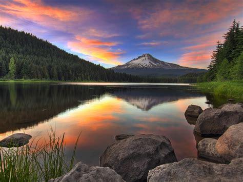 sunset trillium lake  mount hood  oregon united