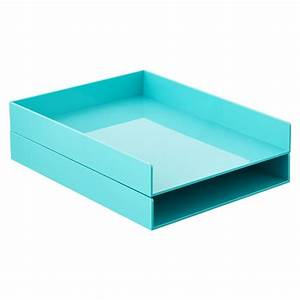 aqua poppin stacking letter tray the container store With paper letter tray