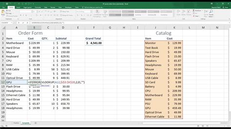 easy excel create  simple order form  youtube