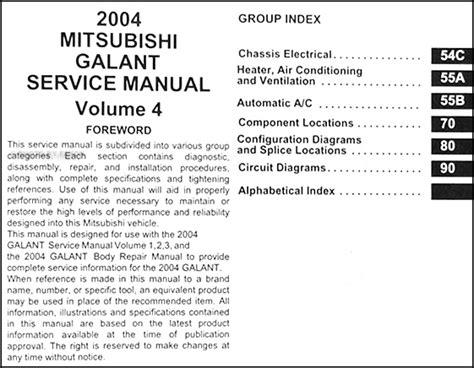 free online car repair manuals download 2004 mitsubishi eclipse spare parts catalogs 2004 mitsubishi galant repair shop manual set original
