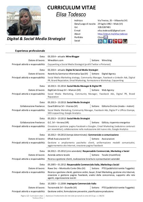 curriculum vitae ufficio acquisti my cv digital social media strategist