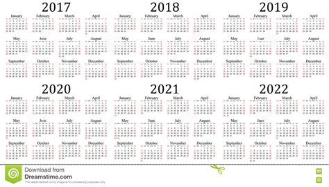 2017, 2018, 2019, 2020, 2021 Y