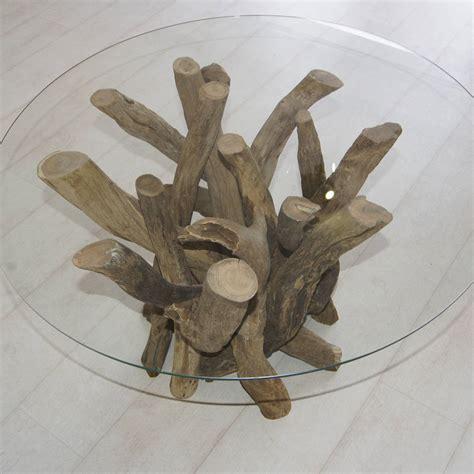 Round Driftwood Coffee Table 40cm High By Doris Brixham