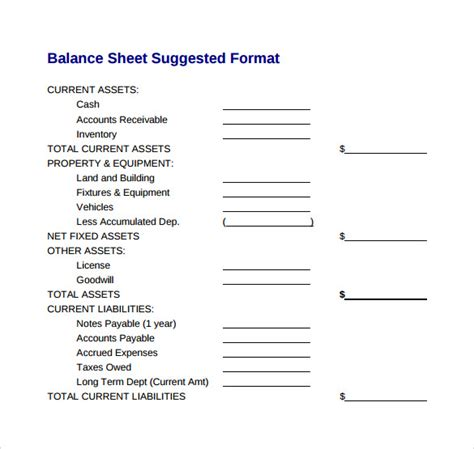 sample balance sheet templates  ms word