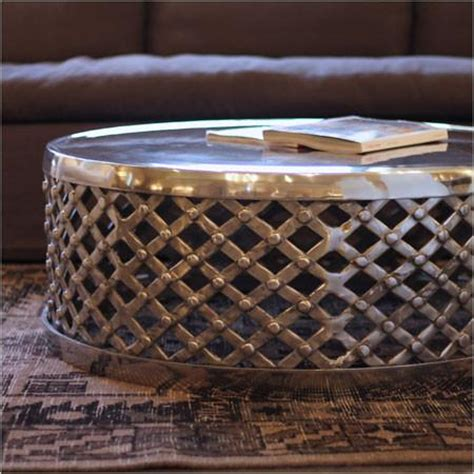 metal drum coffee table  polished silver finish