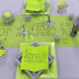 Décoration De Table Anniversaire : serviette ja vert anis d co table vaisselle jetable f ezia ~ Melissatoandfro.com Idées de Décoration