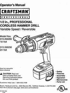 Craftsman 315269280 User Manual Hammer Drill Manuals And