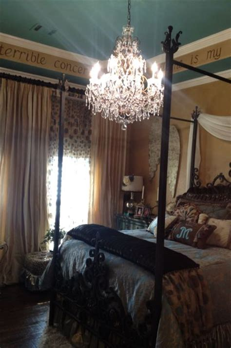 chandelier dripping with bling in this surprise bedroom