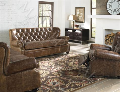 tufted top grain distressed brown leather sofa ebay