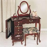 makeup vanity furniture Powell Furniture Heirloom Cherry Wood Makeup Vanity Table Set Bedroom Vanitie | eBay