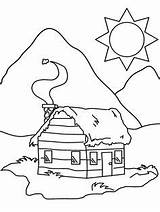 Coloring Pages Cabin Lumberjack Birthday Cabins 1st Winter sketch template
