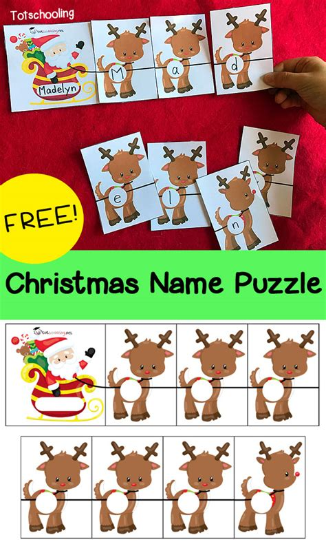 name puzzle totschooling toddler preschool 286 | Christmas Name Puzzle