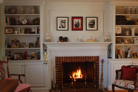 Living Room With Fireplace And Bookshelves by Brick Fireplace With Built Ins Fr Living Room Inspiration