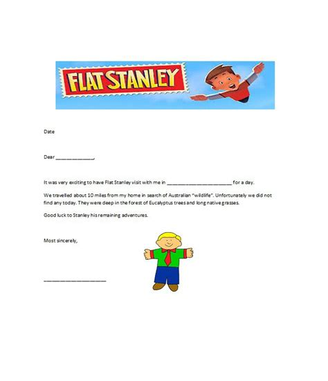 flat stanley templates letter examples