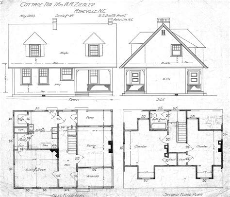 cottage floor plan cottage for mrs ziegler hillside street front side first and second floor plan ziegler