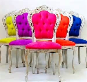 rainbow color tufted chairs interiors