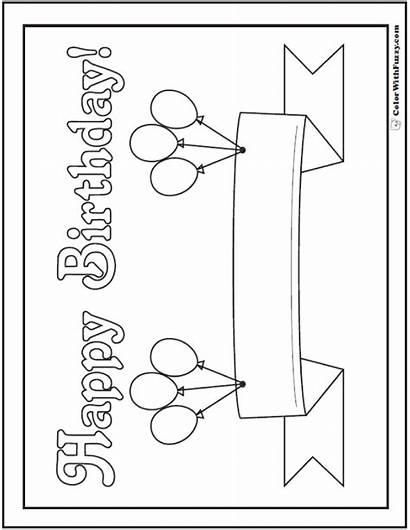 Birthday Coloring Pages Banner Happy Balloons Printable