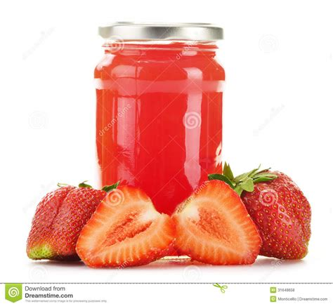 jar  strawberry jam  white background royalty