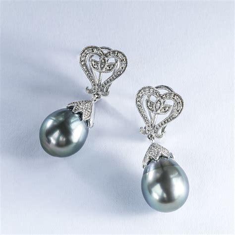 Klenota  Ohrringe Mit Tahitiperlen Und Diamanten, Silber