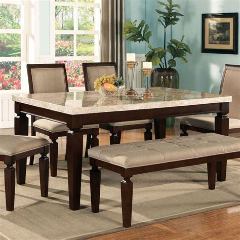 agatha white marble top dining table acme furniture