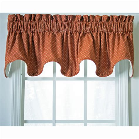 rust colored kitchen curtains scalloped valances patterned solid colored 4956