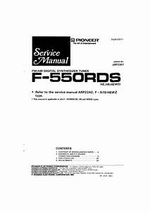 Service Manual For Pioneer F-550rds