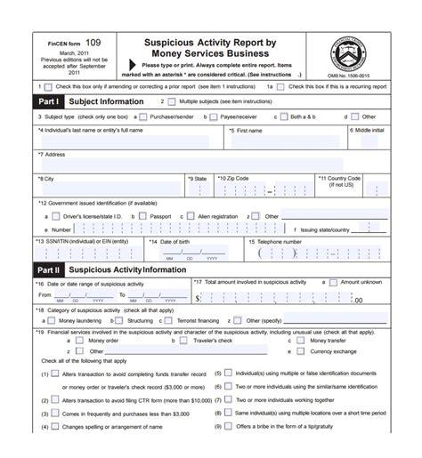 fincen new ctr form 2017 sar money compliance