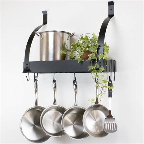 kitchen pot rack hanging racks wall pots pans stainless mounted steel hooks contour essentials amazon lights fixtures cookware ceiling mount
