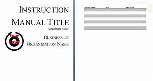 Instruction Manual Template - Word - Excel