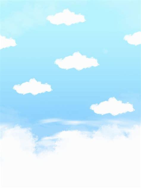 전체 순수 손 흰 구름 배경으로 푸른 하늘을 그린 푸른 하늘과 흰 구름 구름 배경 손으로 그린 하늘