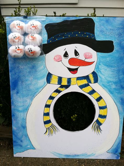 snowball toss game snowman   foam core board