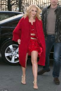 Kylie Minogue Flashes Her Legs During Parisian Jaunt With