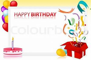 Vector illustration of birthday with balloons and cake and