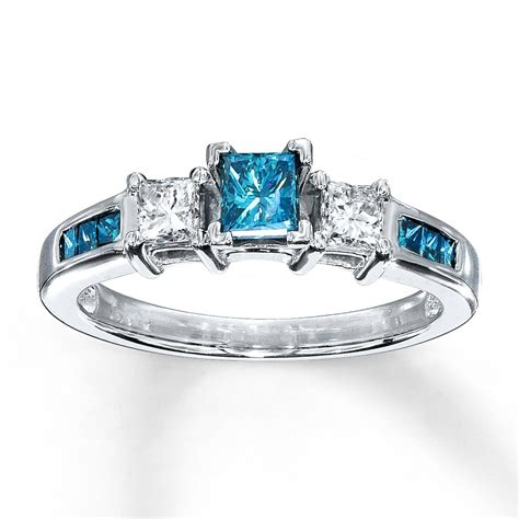 princess cut blue sapphire and diamond engagement ring in white gold jeenjewels