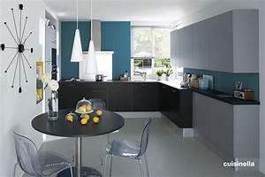 amenagement deco cuisine gris et bleu With cuisine gris et bleu