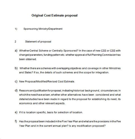 cost proposal template   word  format