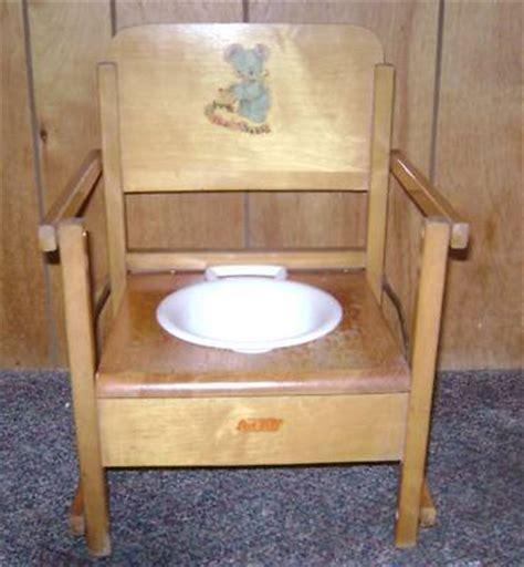vintage oak hill child s wooden potty chair antique