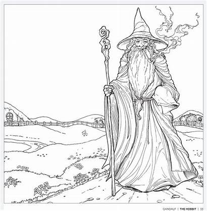 Gandalf Coloring Hobbit Colouring Tolkien Adults Books