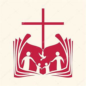 Church logo. Family, open bible, cross and dove Holy ...