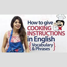 Giving Cooking Instructions In English  Vocabulary And Phrases ( Free Spoken English Lesson