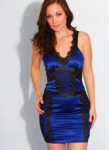 blue satin mini dress with black lace trim by