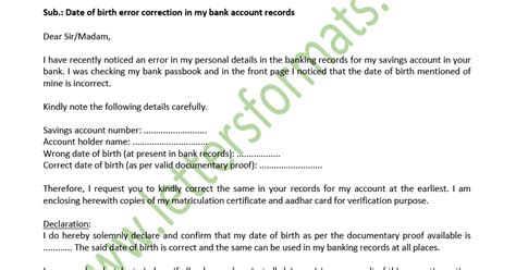 date  birth change  bank account formal letter