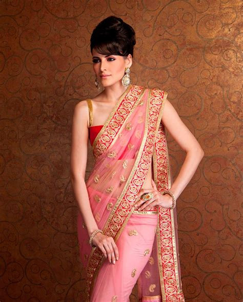 meena bazaar embroidered net sari sarees fashion attire