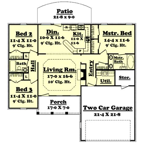 Ranch Style House Plan 3 Beds 2 Baths 1400 Sq/Ft Plan