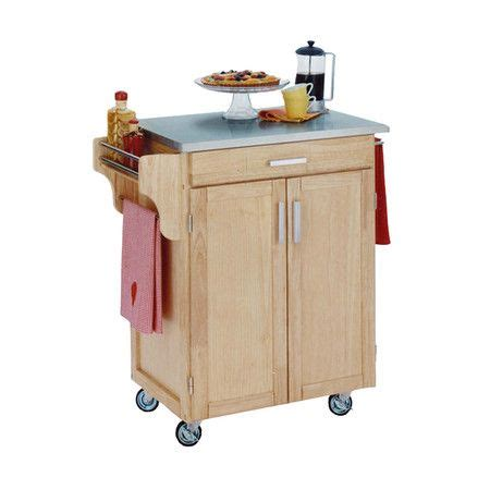 stainless steel topped kitchen cart  natural   full cabinet product kitchen cart