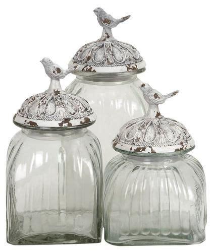 Decorative Kitchen Glass Jars set of 3 decorative glass jars with polystone bird lid