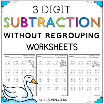 single digit vertical subtraction without regrouping 3 digit subtraction without regrouping worksheets by